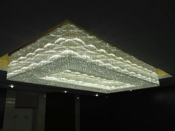 Large Rectangular Crystal Ceiling Lamp for Hotel Lobby 9510008