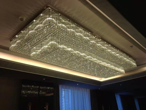 Big Rectangle Crystal Ceiling Lamp for Hotel 9510009